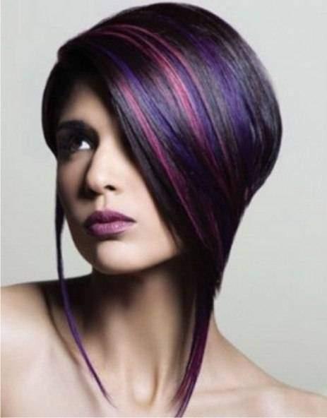 Креативное мелирование волос с фиолетовыми прядями