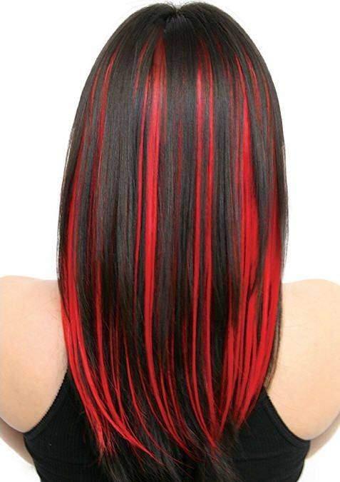 Креативное мелирование волос с красными прядями